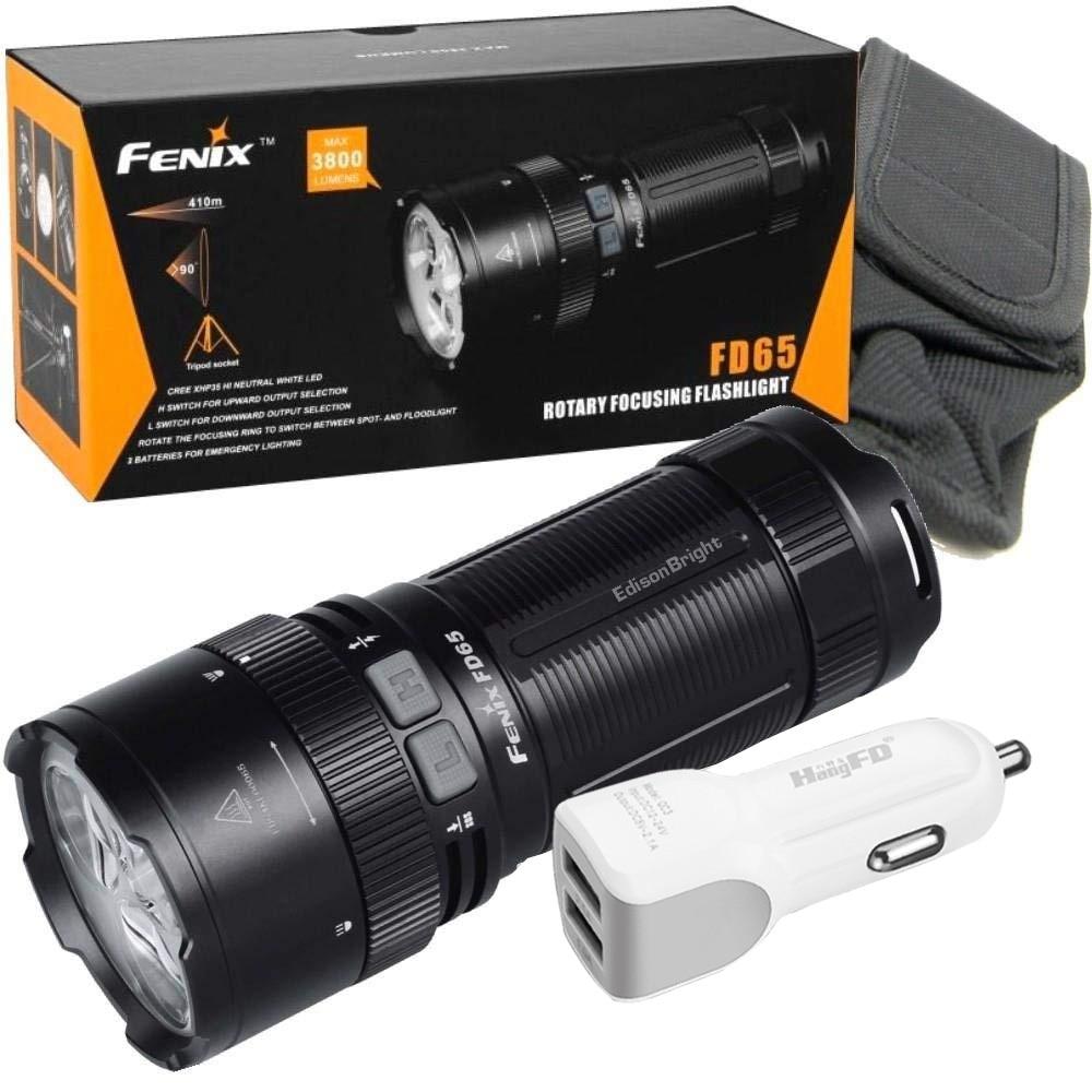 FENIX FD65 messa a fuoco regolabile 3800 Lumen CREE LED militare/ricerca Torcia Elettrica di salvataggio con caricabatteria da auto
