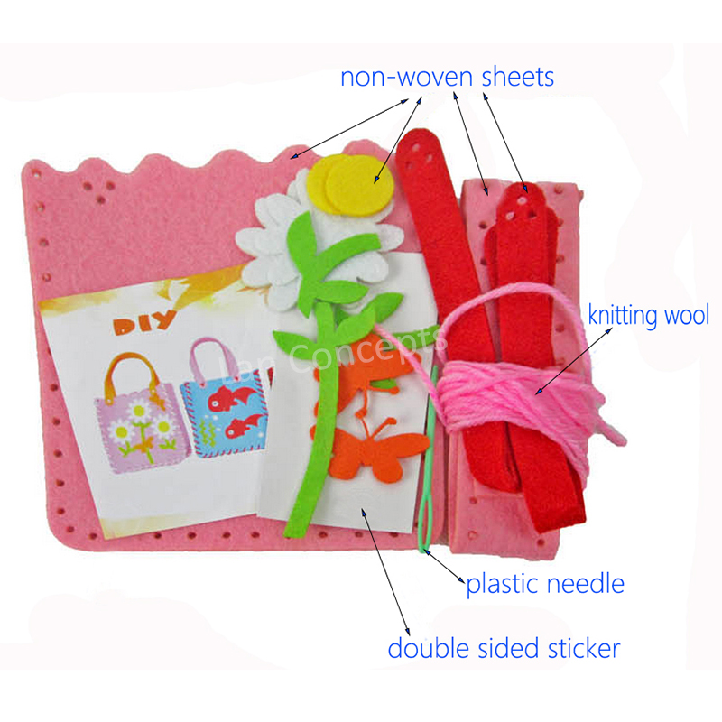 wholesale DIY Kids Craft Kit Felt Bag with non woven sheets knitting ...