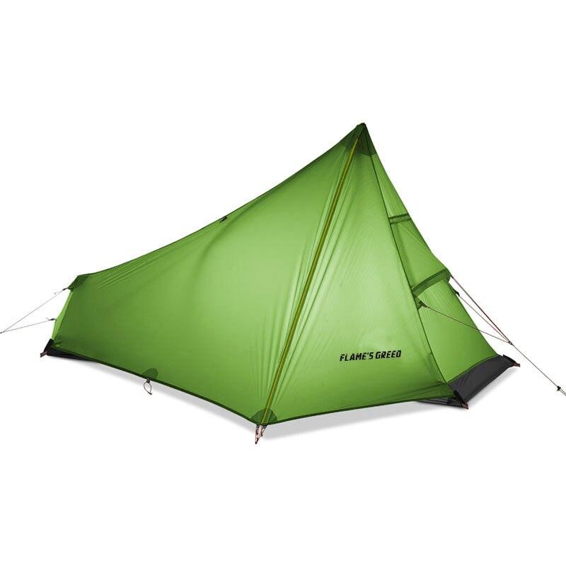 Tente de Camping ultralégère d'oudoor de tente de personne simple du CREE de FLAME'S 3 saisons professionnel 15D revêtement en Nylon de silicium tente sans tige 740g