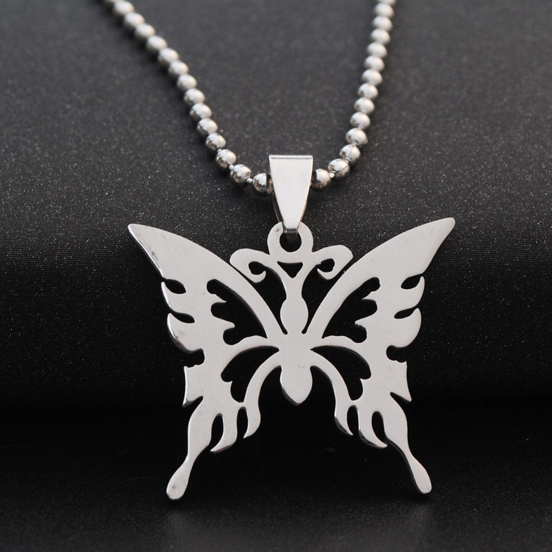 stainless steel hollow butterfly charm necklace animal insect butterfly bee necklace butterfly effect pendant charm necklace in Pendant Necklaces from Jewelry Accessories