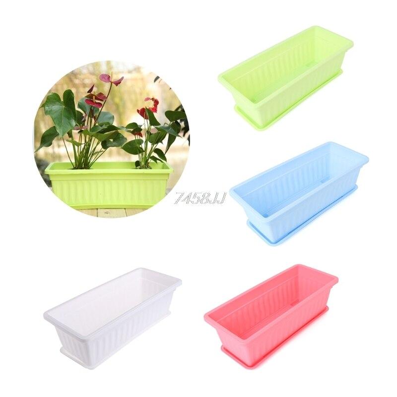 Hot Sale Rectangular Flower Pot Colour Gloss Plastic Plant Planter