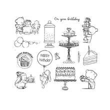 Cute Bear Rabbit Birthday Cake Transparent Clear Rubber Stamps Scrapbooking Silicone Seals Photo Album Folder Paper Making Decor