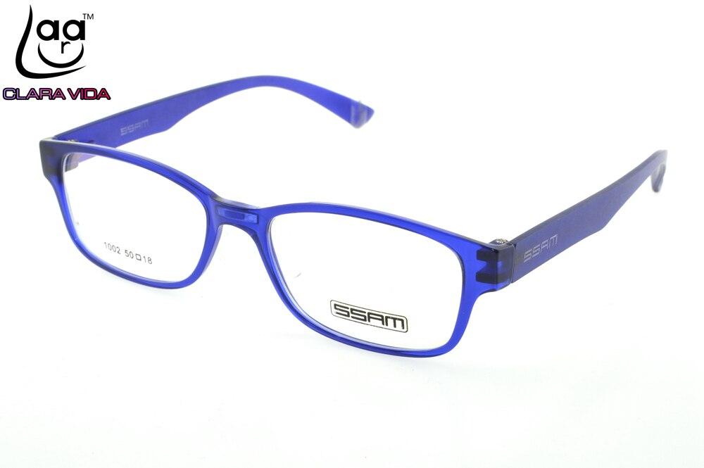 ⑤Blue Full-rim TR90 Ultra Light Memory Nerd Glasses Frame Custom ...