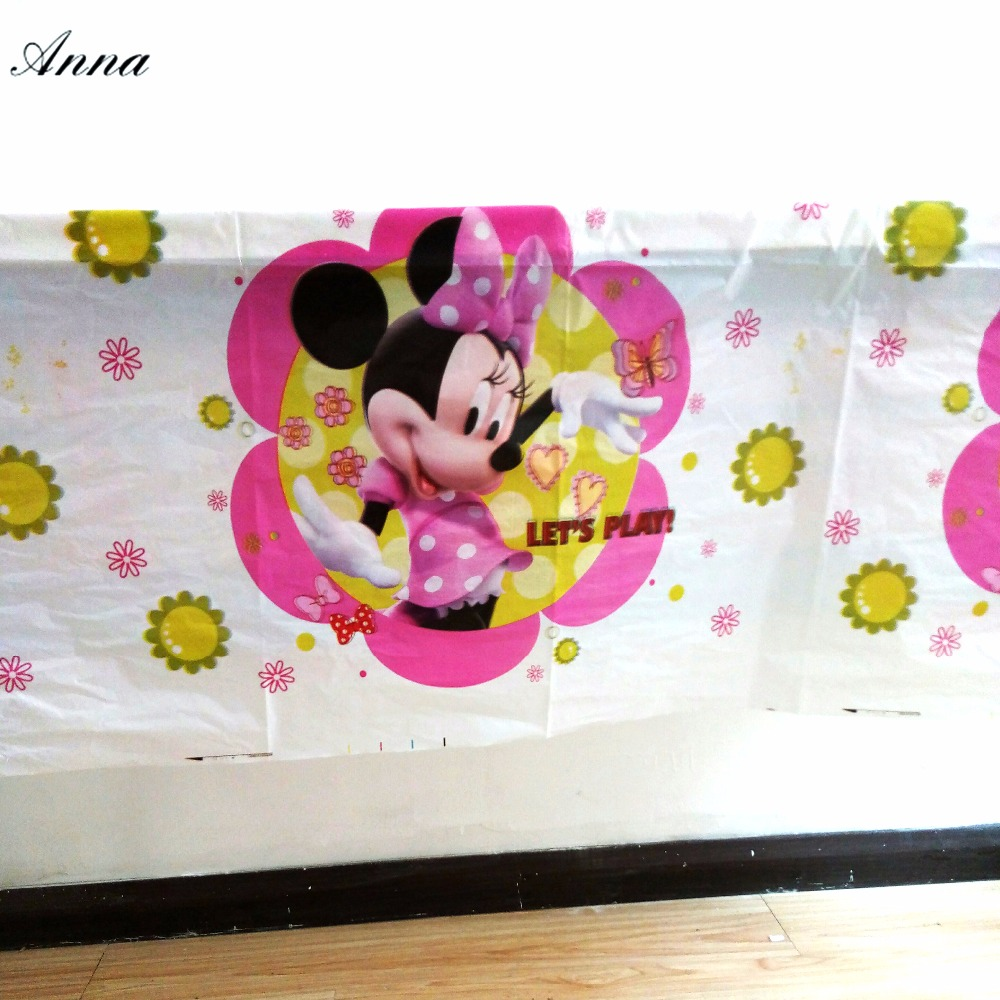 108x180cm Minnie Mouse Birthday Party Decorations Tablecloth Cartoon Kids Happy Birthday Decoration Table Cloth Boys Favor Set