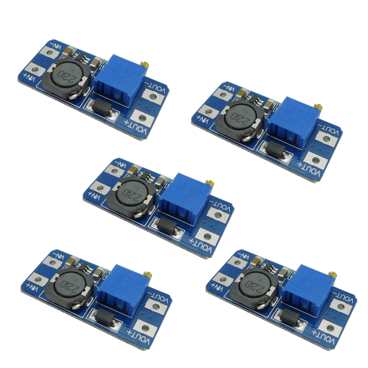 Aihasd 5PCS MT3608 2A 28V Max DC-DC Step Up Power Module Booster Power Module For Arduino