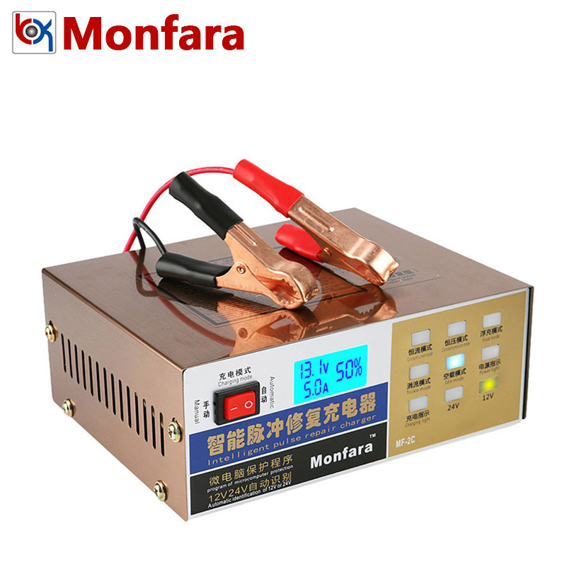 MONFARA 12V 24V Car Automotive Motorcycle Battery Charger Intelligent Pulse Repair Led Display For Auto Truck Lead Acid Batterie