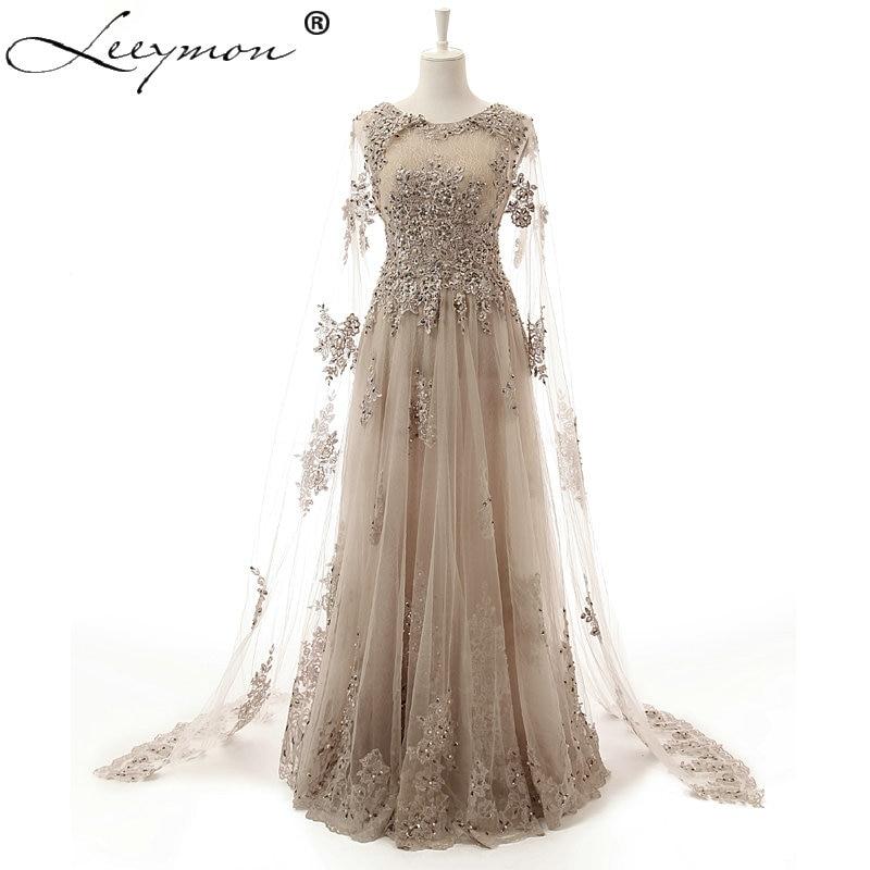 Dubaï luxe paillettes une ligne dentelle et perles robes de soirée avec châle dos nu robes de bal robe de festa AQH07