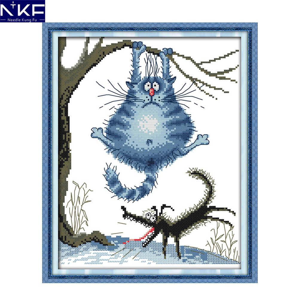 NKF должен похудеть раньше Счетный вышивки крестиком 11 14CT наборы вышивки крестиком мультяшный Набор для вышивки домашнего декора