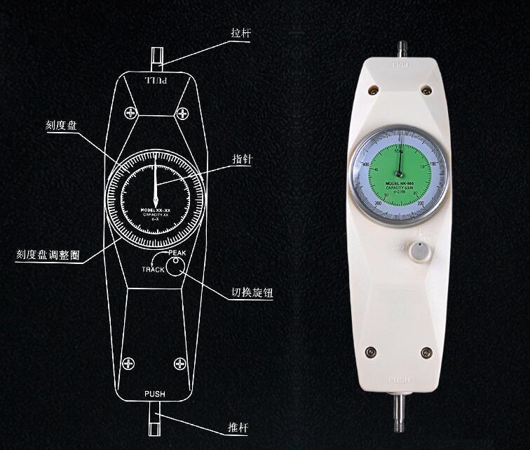 1Pcs Dial Mechanical Push-Pull Gauge pointer type Precision Force gauge NK-500N nk 200 analog pointer force gauge pull