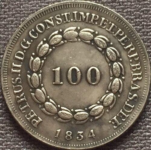 1834 Бразилия 100 Reis Монеты Скопируйте Бесплатная доставка