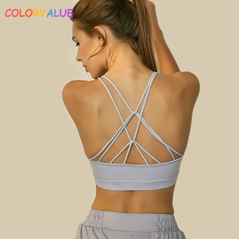 Colorvalue Chic Crisscross Straps font b Fitness b font Jogger Sports Bras Women Soft Nylon Push