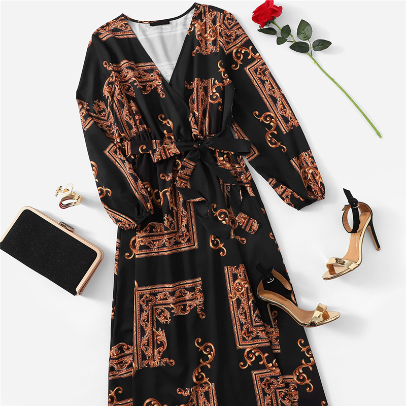 COLROVIE V Neck Scarf Print Belted Wrap Casual Dress Women 19 Spring Long Sleeve Party Maxi Dress Vacation Ladies Dresses 6