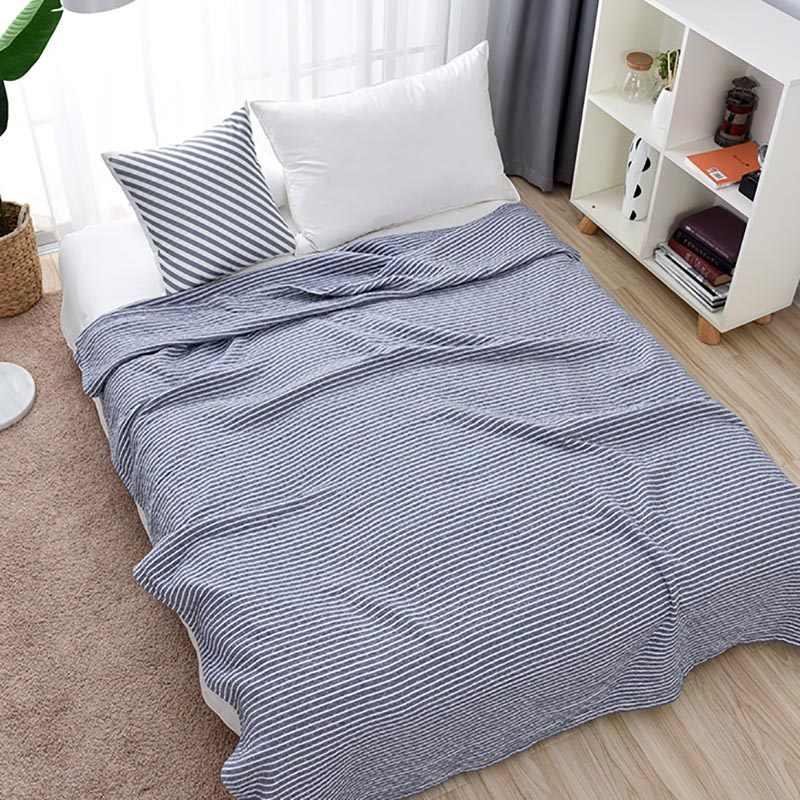 Beroyal Brand 2019 Throw Blanket -1piece 100% Cotton Blanket three Layers  Gauze Stripe Blanket 13f5af78e