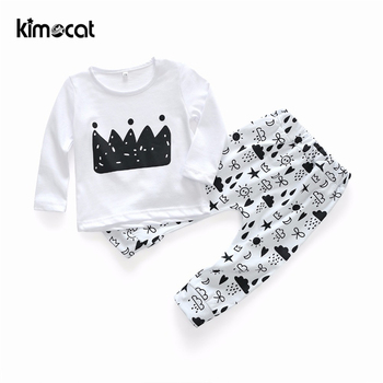 Kimocat Spring Baby Boy Clothes Newborn Baby Girl Clothing Set Boys Sport Suit Children Clothes Cotton Spring Flower Jacket 2017 spring newborn baby boy clothes bow lie kids suit clothing sets 3pcs children bebe solid cloth outfit sport coats boys