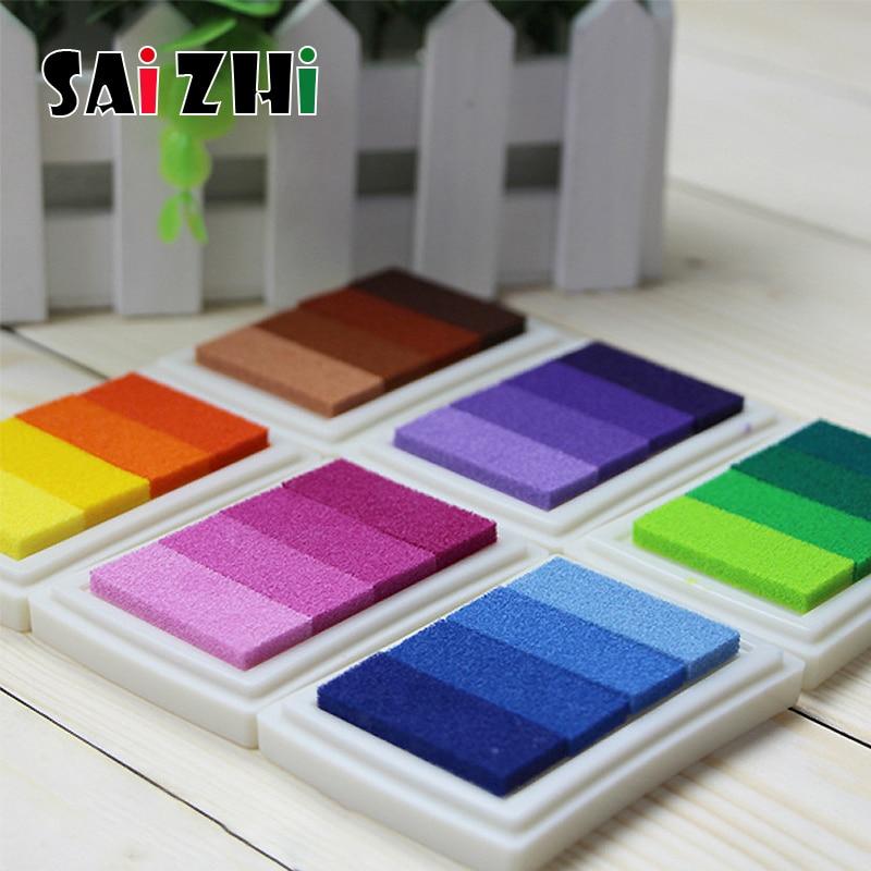 Saizhi 4 Color Gradient Colorful Scrapbooking Fingerprint Stamp Sealing Decoration Seal Ink Pad Making DIY Crafts SZ3709