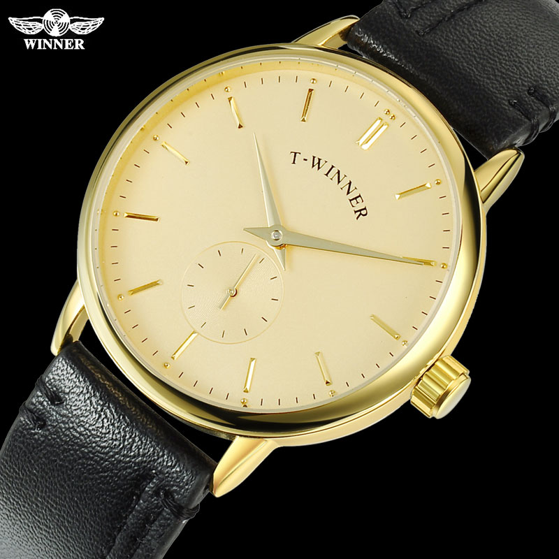 T-WINNER Men Mechanical Watches Winner Brand Hand Wind Stainless Steel Leather Band Forsining Man Casual Waterproof Clock Pakistan