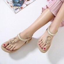 New Summer Flip Flops Women Sandals Buckle Leisure Fashion Beach Bohemian Footwear Women Casual Shoes Concise Flat Sandals BT563