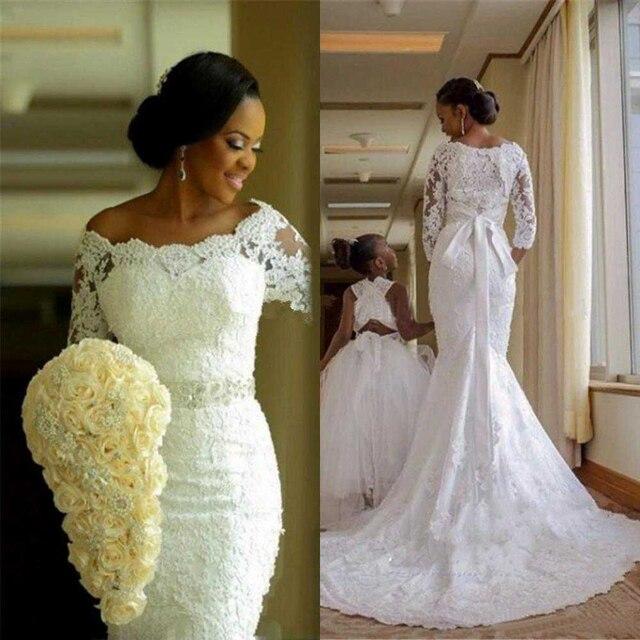 Fansmile Mới Đầm Vestido De Noiva Ren Châu Phi Nàng Tiên Cá Váy Cưới 2020 Tùy Chỉnh Plus Kích Thước Ngọc Trai Cô Dâu Áo Cưới FSM 495M