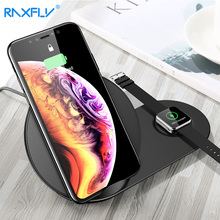 RAXFLY 2 IN 1 Wireless Charger For apple watch 3 4 iPhone XS MAX XR X 8 Plus QI Samsung S8 S9