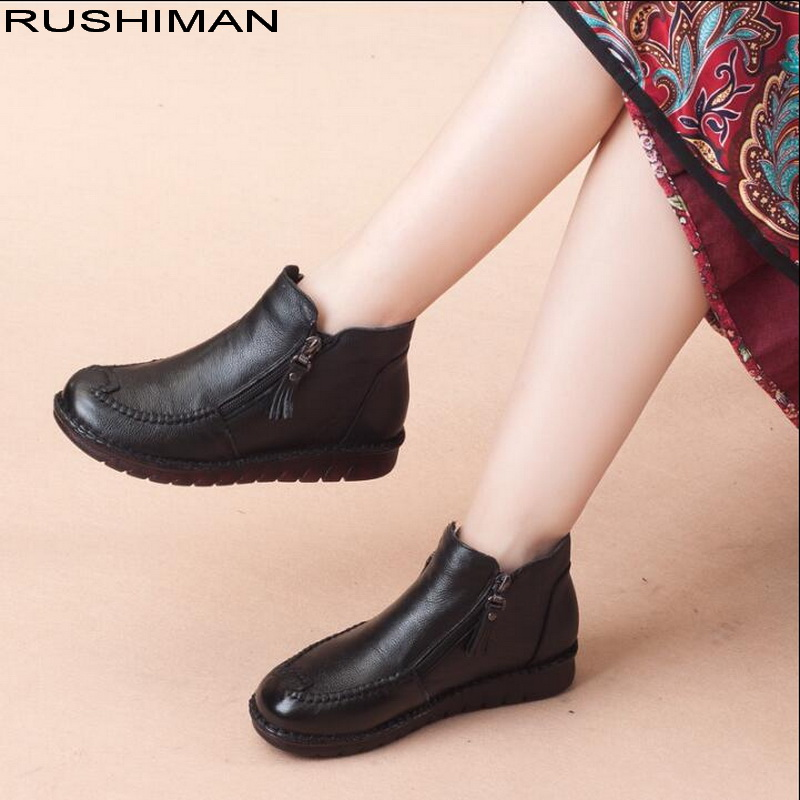 Autumn and Winter velvet Genuine Leather Ankle Boots handmade sewing shoes double zipper flat shoes women