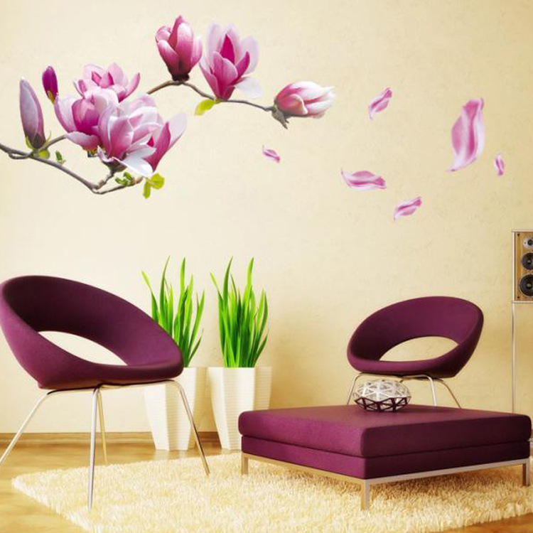 Purple Pollen Removable Wall Art Decal Sticker Diy Home: DIY 3D Romantic Purple Flower Wall Sticker Vintage Poster