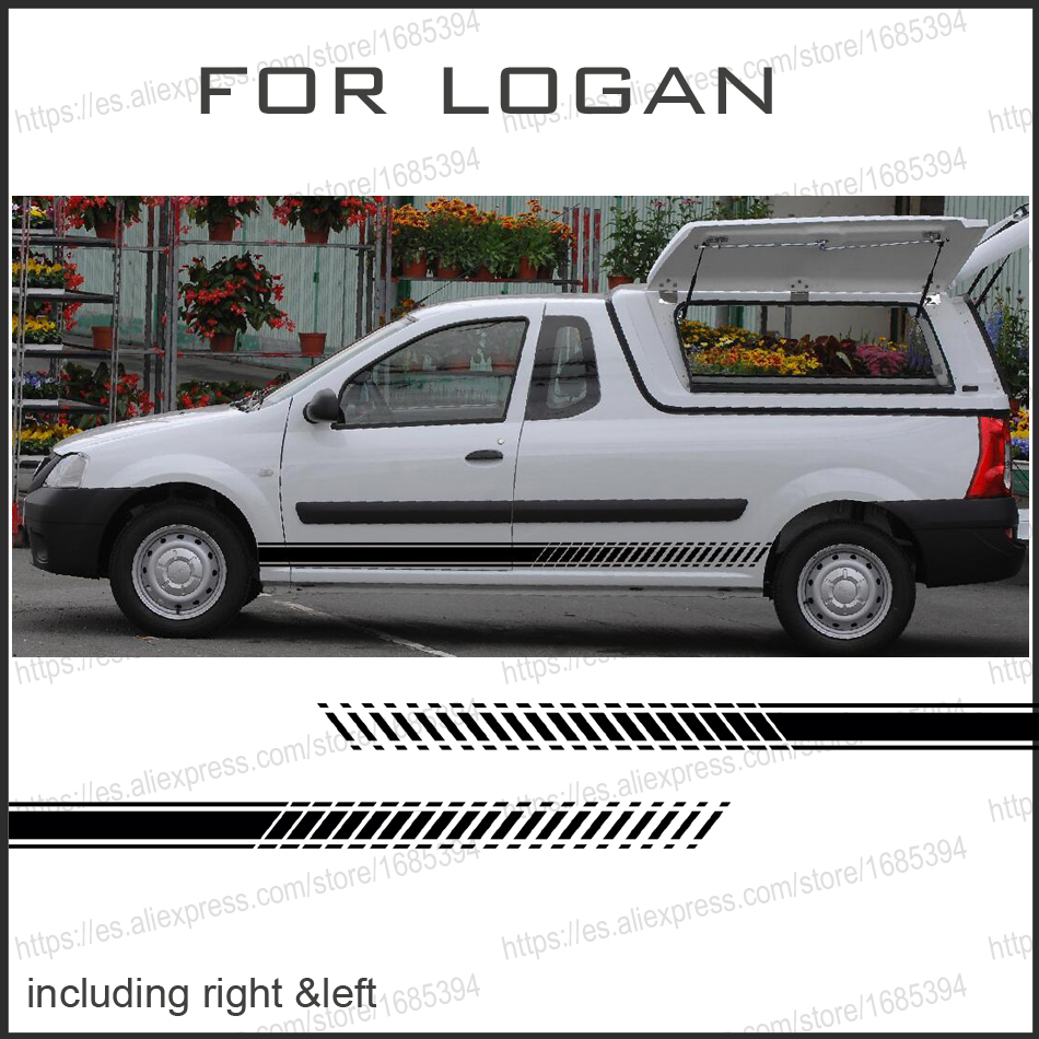 free shipping 2 PC Gradient side stripe graphic Vinyl sticker for Dacia Logan pickup sticker for dacia logan saloon ls