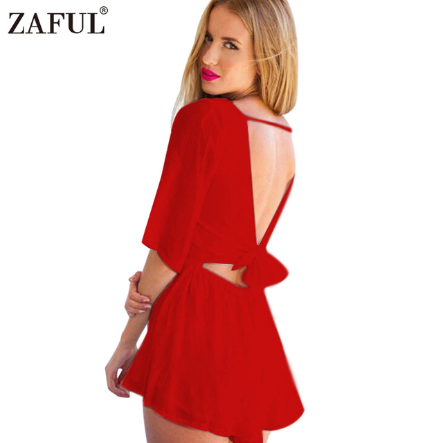 733d869f69c ZAFUL sexy Red chiffon jumpsuit romper summer o neck solid playsuit sexy  backless bow half sleeve
