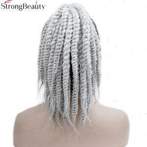 Image 3 - Starke Schönheit Afroamerikaner Zöpfe Geflochten Silber Grau Synthetische Pferdeschwanz Erweiterung Haarteil Klaue Clip
