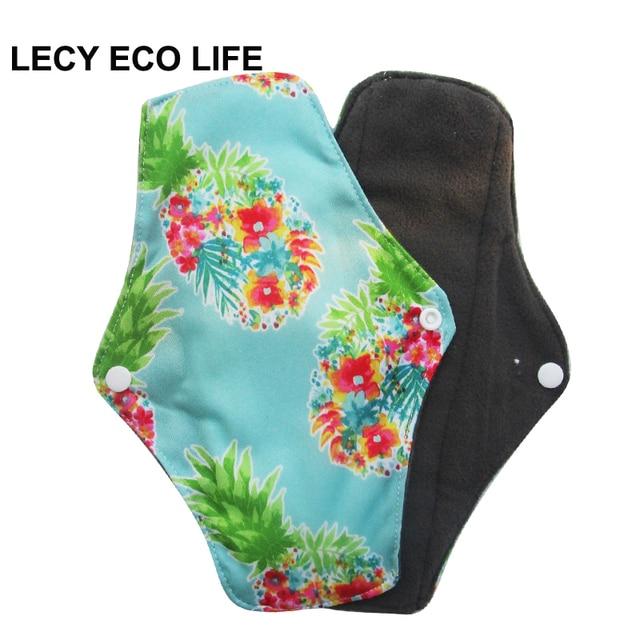 Almohadillas menstruales de tela Interior de carbón de bambú LECY ECO LIFE para flujo regular, servilletas reutilizables para mujer regalo de Navidad