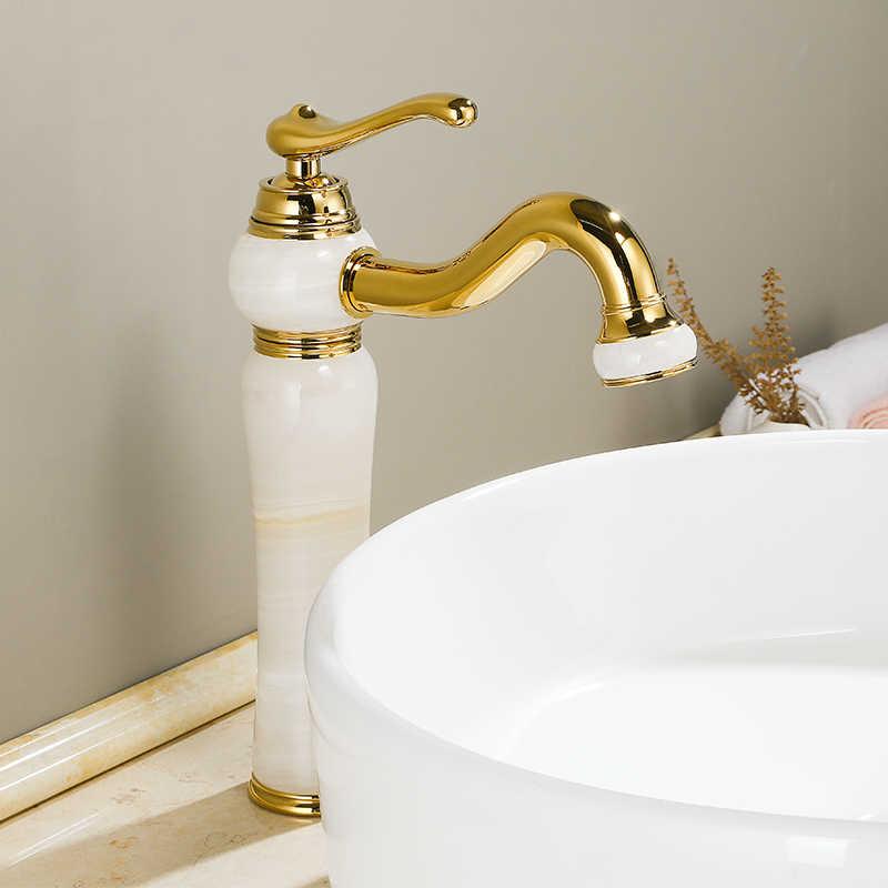 Роскошный золотой Латунный натуральный нефритовый кран для раковины для ванной комнаты Золотой художественный смеситель для раковины с одной ручкой туалетный кран, золотой Finish-SM515
