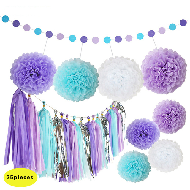 25pcs set diy blue light purple white paper pompom flower wedding decor silver tassels garland. Black Bedroom Furniture Sets. Home Design Ideas