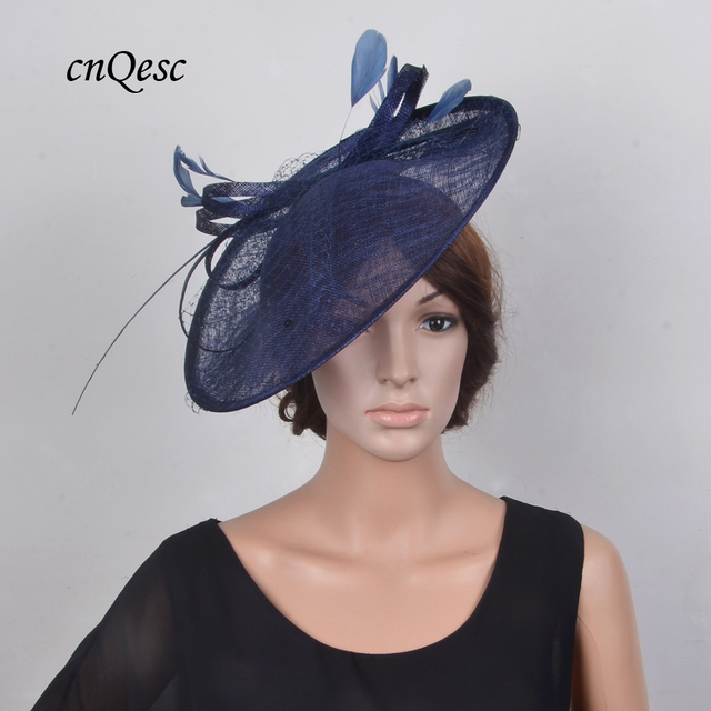 New Navy Blue Sinamay Hat Fascinator W Feathers Veiling Sequin For Races