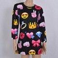 3D Emoji Sudaderas Con Capucha Mujeres Otoño 2016 Cara de la Sonrisa Linda Impresa Vestido Delgado Del O-cuello Sudadera Larga Con Capucha Vestido