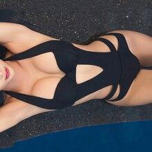 цена 2019 Sexy One Piece Swimsuit Black Halter Cut Out Bandage Trikini Swim Bathing Suit Monokini Push Up Brazilian Swimwear Women онлайн в 2017 году