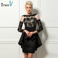 Dressv Hot Sale Cocktail Dresses 2017 Sheath Long Sleeves Appliques Lace Short Black Formal Cocktail Party Dress Custom Size