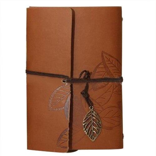 PU Leather Diary book Notebook Leaf Pend
