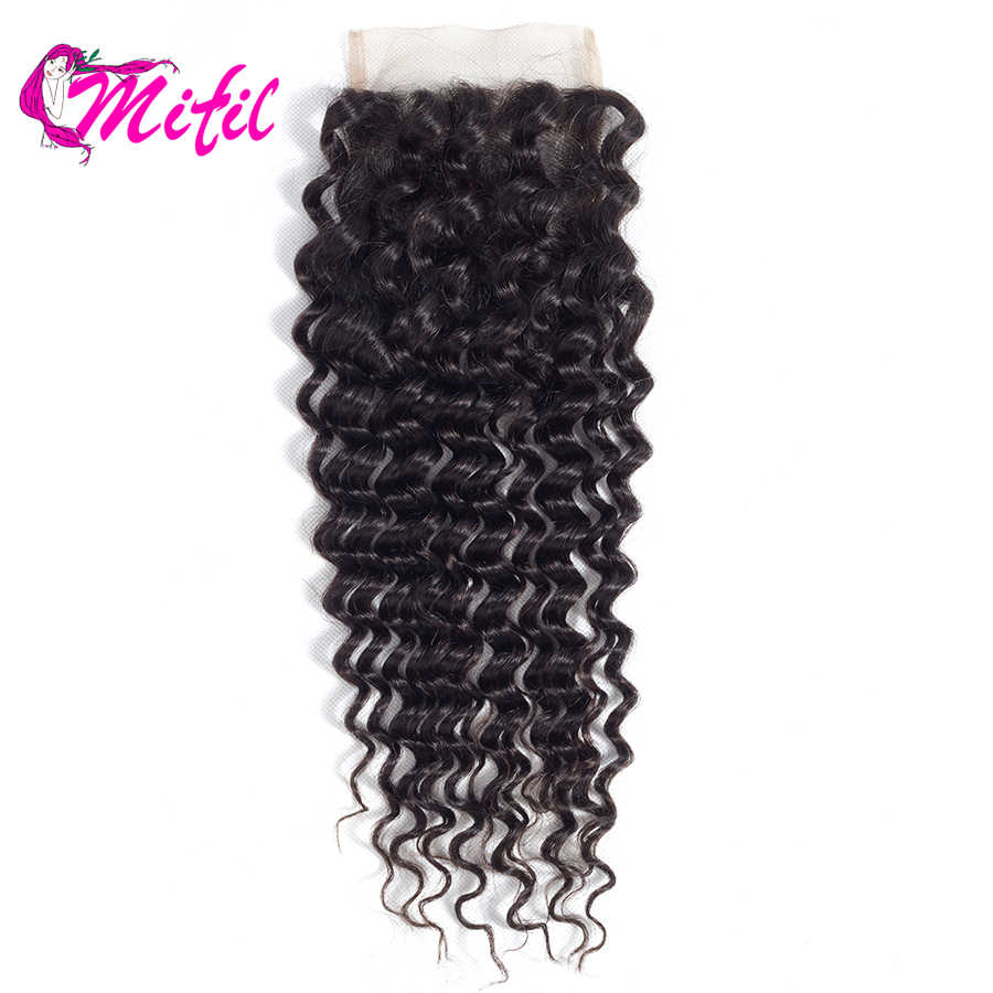 Mifil Hair Peruvian Deep Wave Lace Closure Non Remy 4x4 Human Hair Closure Free/Middle/Three Part Closures With Baby Hair