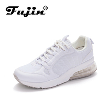 Fujin Spring Autumn Casual Sneaker Platform Walking Women High Sole Flats Shoes Loafers Small White