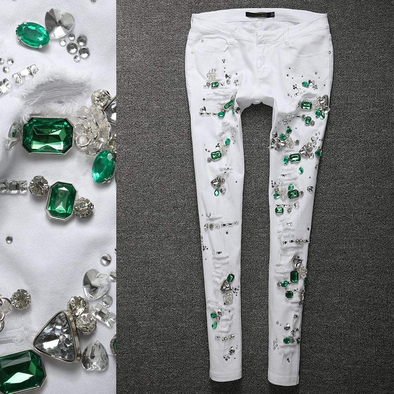 Grande taille femmes crayon diamant Jeans Slim élastique Skinny blanc trou Stretch dame Jeans