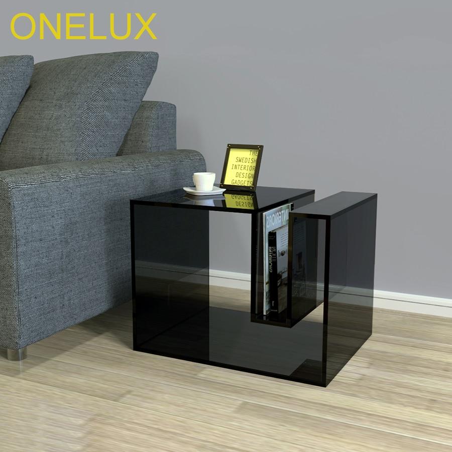 Black Acrylic Occasional Sofa Table With Magazine Rack
