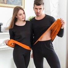 2018 Thermal Underwear Couple Women/Men's Fleece ThickenAutumn Winter Shirt+pants 2 Piece Set Warm Johns Thermal Underwear Set