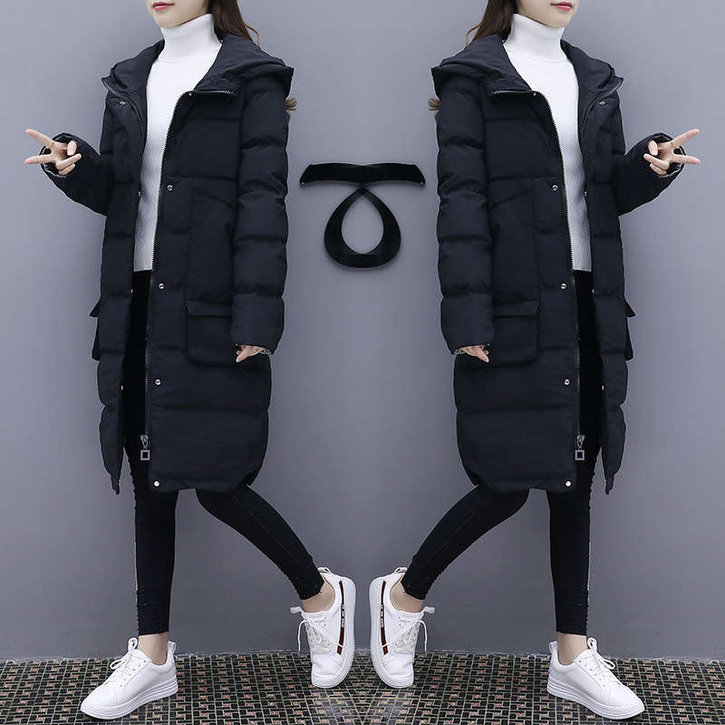 Grande Lâche Parkas Long 2018 Plus Xl La Coton Noir Capuche Hiver 5xl Femelle Taille Spliced Épaississement Manteaux Casual Femmes Outerwears 46fw4Uq