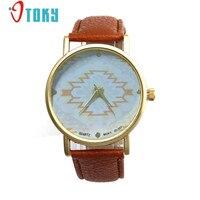 Fashion Retro Women Watches Geometric Pattern PU Leather Band Golden Bezel Clocks Quartz Wrist Watch Reloj Mujer Creative Apr12
