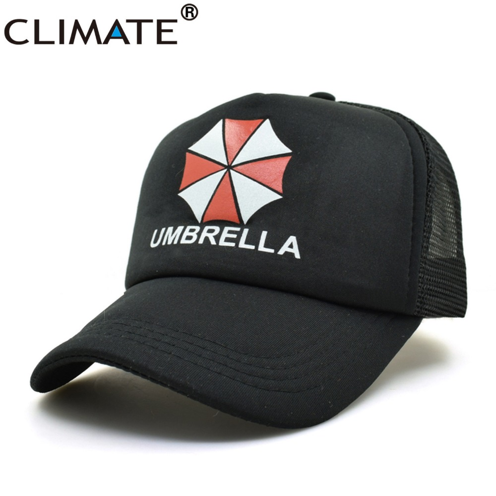 CLIMATE Youth Resident Evil Umbrella Summer Cool Black Mesh Trucker Caps Baseball Caps Hats Adjustable For Men Women summer cool climate new summer cool black mesh trucker caps guardians of the galaxy groot fans printing meh youth nice mesh cool summer caps