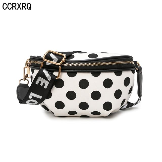CCRXRQ Dots Cintura Sacos Para As Mulheres 2019 Moda Nylon Fanny Pack Handy Cinto Saco de Viagem Feminino Saco Crossbody Menina Bonito sacos de peito