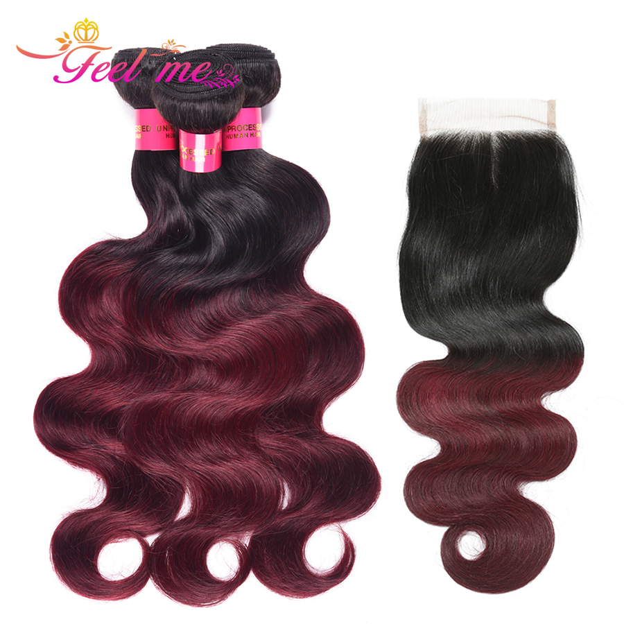 Human Hair Extensions Peruvian Body Wave 1b/99j Red Bundles With Closure Omber Lace Frontal Closure With Bundles Deals Non-remy