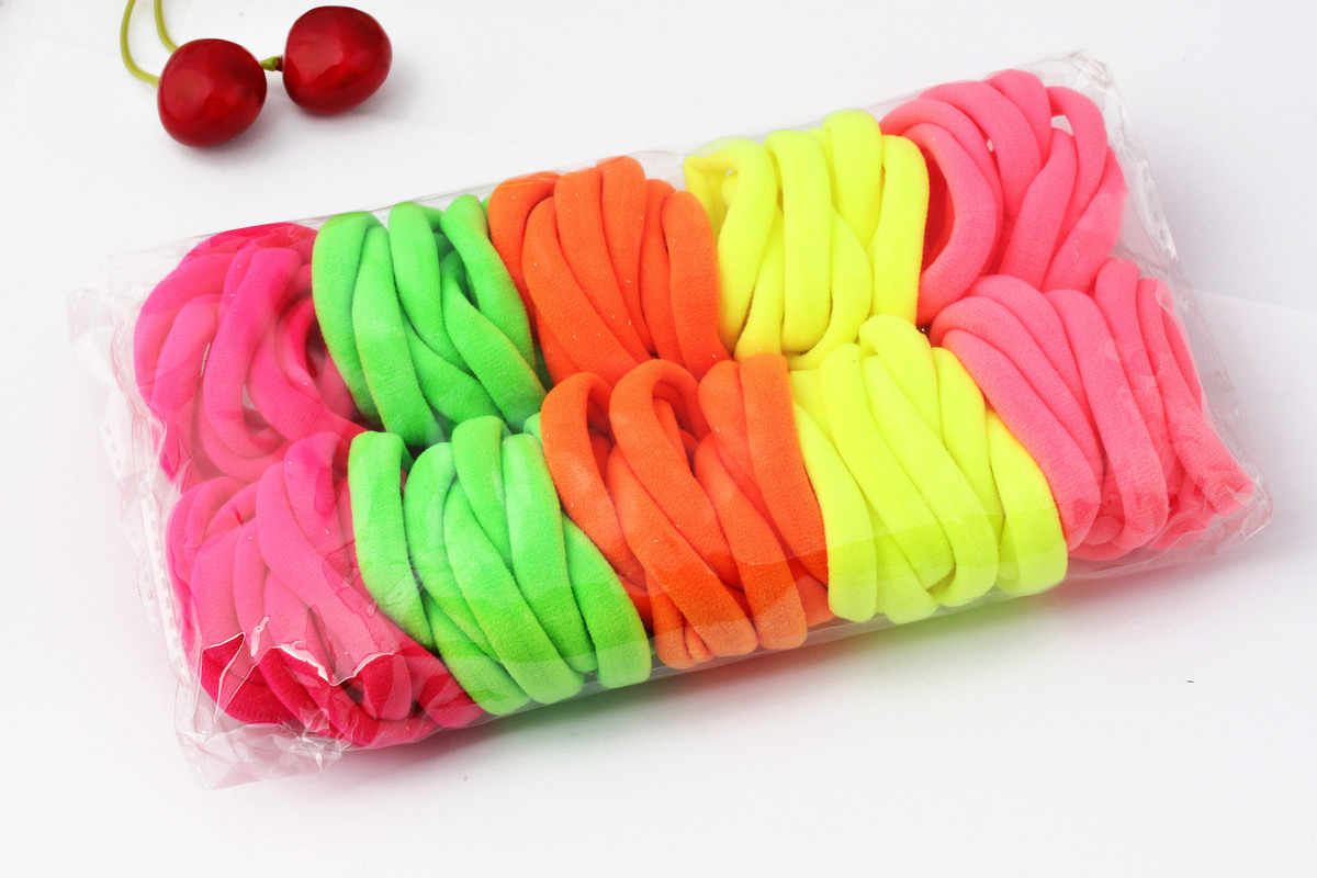 Wholesale Hair Gums Towel Hair Band For Women Fluorescence Green Yellow Colors Elastic Hair Bands Soft Hair Ties 100 Pieces/lot