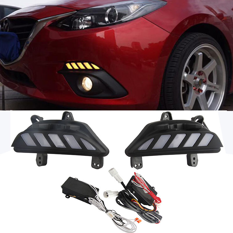 Dynamic Turn Signal Light and dimming style Relay 12V LED car DRL daytime running lights for Mazda 3 axela 2014 2015 2016 new dimming style relay waterproof 12v led car light drl daytime running lights with fog lamp hole for mitsubishi asx 2013 2014