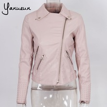 Colorful Apparel [B-1403] 2014 Winter hot  Women rivets embossed leather motorcycle leather jacket Drop shipping supported!