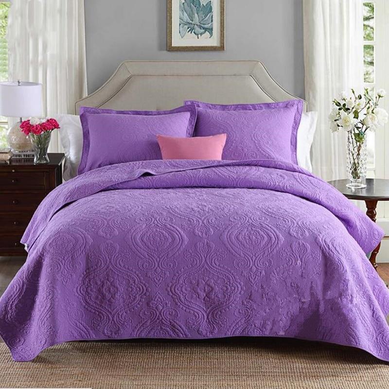 100 coton matelass couette paisse lit feuille 240x260 cm taies doreiller couvre lit violet bleu couvre lit couette dt couverture dans ensembles de - Couvre Lit Violet
